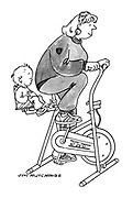 (mother on exercise bicycle with baby in child seat attached to equipment)