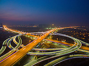 JINAN, CHINA - DECEMBER 08: (CHINA OUT) <br /> <br /> An impressive aerial photo of the Jinan Overpass at night on December 8, 2015 in Jinan, Shandong Province of China. <br /> ©Exclusivepix Media
