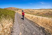 Hiking above Smuggler's Cove, Santa Cruz Island, Channel Islands National Park, California