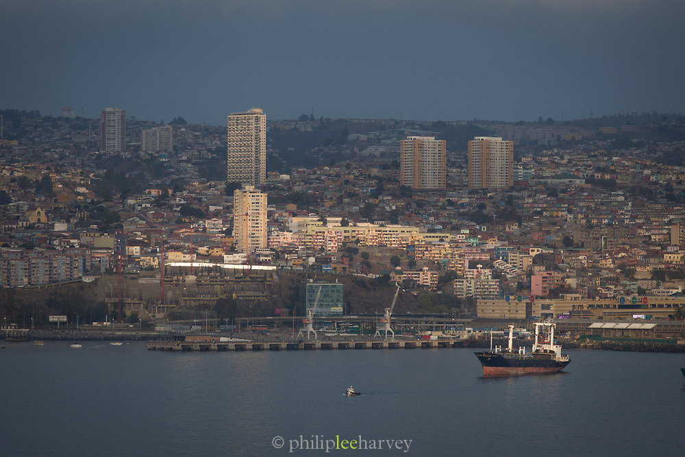 Cityscape and harbor with ship, Valparaiso, Chile