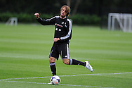 Swansea city's Michu  © in action . Swansea city FC team training in Llandore, Swansea,South Wales on Thursday 15th August 2013. The team are preparing for the opening weekend of the Barclays premier league when they face Man Utd. pic by Andrew Orchard,  Andrew Orchard sports photography,