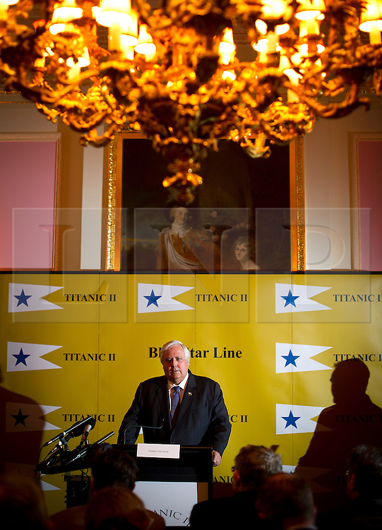 © London News Pictures. 02/03/2013 . London, UK.  Australian billionaire Clive Palmer speaking at a press conference at The Ritz hotel, London for the unveiling of plans to build a an almost-exact replica of the ill-fated Titanic cruise ship. The Titanic II will travel from China to Southampton to New York.  Photo credit : Ben Cawthra/LNP
