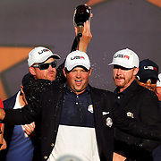 Ryder Cup 2016. Day Three. Patrick Reed celebrates with the Ryder Cup after the United States victory in the Ryder Cup tournament at Hazeltine National Golf Club on October 02, 2016 in Chaska, Minnesota.  (Photo by Tim Clayton/Corbis via Getty Images)