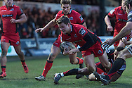 Chris Dean of Edinburgh dives over to score his teams 2nd try of the game. Guinness Pro12 rugby match, Newport Gwent Dragons  v Edinburgh rugby at Rodney Parade in Newport, South Wales on Sunday 27th November 2016.<br /> pic by Simon Latham, Andrew Orchard sports photography.