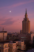 The sun sets over the Hilton in Moscow, one of the Seven Sisters buildings.