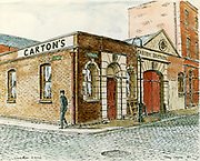 Randon Images of postcard drawings from Ireland Carton Brothers, Dublin  Market Area Old amateur photos of Dublin streets churches, cars, lanes, roads, shops schools, hospitals