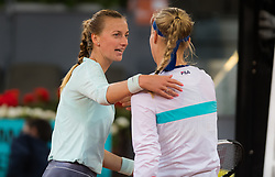 May 9, 2019 - Madrid, MADRID, SPAIN - Petra Kvitova of the Czech Republic & Kiki Bertens of the Netherlands at the net after their quarter-final match at the 2019 Mutua Madrid Open WTA Premier Mandatory tennis tournament (Credit Image: © AFP7 via ZUMA Wire)