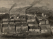 J & J Clark's Anchor Thread Works, Paisley, Renfrewshire, Scotland.  Clarks were known for their sewing threads and mercerised cotton for more than a century.  From 'Great Industries of Great Britain' (London, c1880).  Engraving.