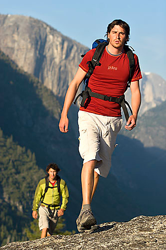 Two young men backpacking in Yosemite National Park, CA<br />