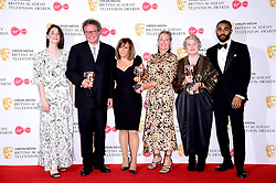 Victoria Mappleback, Amanda Murphy, Sally Angel and Adam Gee in the press room after winning the award for Best Short From Programme with presenters Charly Clive and Anthony Welsh at the Virgin Media BAFTA TV awards, held at the Royal Festival Hall in London.