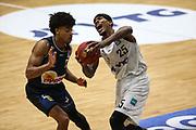 Basketball: Deutschland, 1. Bundesliga, Hamburg Towers - HAKRO Merlins Crailsheim, Hamburg, 10.01.2021<br /> Trae Bell-Haynes (Merlins, l.) - Terry Allen (Towers)<br /> © Torsten Helmke