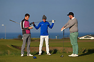 Darragh Flynn, Ryan Griffin and Eoin Murphy (Dundalk) on the 1st tee during Round 4 of The West of Ireland Open Championship in Co. Sligo Golf Club, Rosses Point, Sligo on Sunday 7th April 2019.<br /> Picture:  Thos Caffrey / www.golffile.ie
