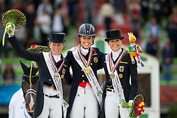 Podium Grand Prix Special 1. Charlotte Dujardin and Valegro, 2. Helen Langehanenberg and Damon Hill, 3 Kristina Sprehe and Desperados - Grand Prix Special Dressage - Alltech FEI World Equestrian Games™ 2014 - Normandy, France.<br /> © Hippo Foto Team - Leanjo de Koster<br /> 25/06/14