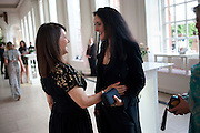 DEBBIE MOORE;  LIZ JONES, English National Ballet Summer party.  All proceeds from the Summer Party go towards English National Ballet. The Orangerie. Kensington Palace. London. 29 June 2011. <br /> <br />  , -DO NOT ARCHIVE-© Copyright Photograph by Dafydd Jones. 248 Clapham Rd. London SW9 0PZ. Tel 0207 820 0771. www.dafjones.com.