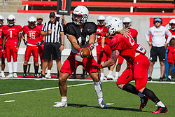 NORMAL, IL - August 14: Jackson Waring, Cole Mueller during a college football pre-season scrimmage of the  ISU (Illinois State University) Redbirds August 14 2021 at Hancock Stadium in Normal, IL. (Photo by Alan Look)