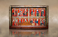 Romanesque thirteenth century painted altar front from the church of Santa Maria de Mosoll, Das, Baixa Cedanya, Spain, showing scenes from the life of the Virgin Mary.  National Art Museum of Catalonia, Barcelona 1922. Ref: MNAC 15788..<br /> <br /> If you prefer you can also buy from our ALAMY PHOTO LIBRARY  Collection visit : https://www.alamy.com/portfolio/paul-williams-funkystock/romanesque-art-antiquities.html<br /> Type -     MNAC     - into the LOWER SEARCH WITHIN GALLERY box. Refine search by adding background colour, place, subject etc<br /> <br /> Visit our ROMANESQUE ART PHOTO COLLECTION for more   photos  to download or buy as prints https://funkystock.photoshelter.com/gallery-collection/Medieval-Romanesque-Art-Antiquities-Historic-Sites-Pictures-Images-of/C0000uYGQT94tY_Y