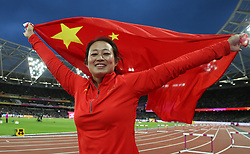 China's Lingwei Li celebrates winning Silver in the Women's Javelin during day five of the 2017 IAAF World Championships at the London Stadium.