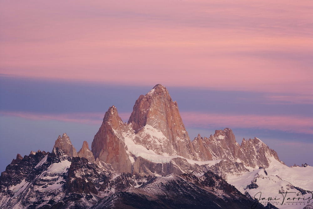 Mt Fitzroy Range at dawn, this  Mountain Range is one of the greatest challenges for rock climbers in the world. The area also becomes a increasingly popular destination for hikers from around the globe