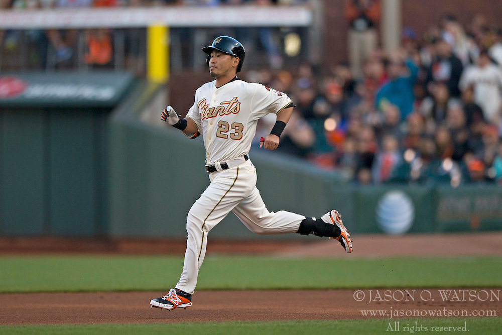 SAN FRANCISCO, CA - APRIL 18:  Nori Aoki #23 of the San Francisco Giants runs to second base after hitting a double against the Arizona Diamondbacks during the first inning at AT&T Park on April 18, 2015 in San Francisco, California.  The San Francisco Giants defeated the Arizona Diamondbacks 4-1. (Photo by Jason O. Watson/Getty Images) *** Local Caption *** Nori Aoki