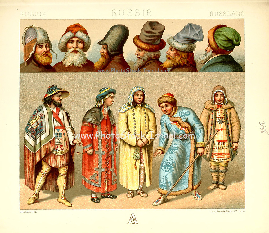 Ancient Russian fashion and lifestyle, 18th century from Geschichte des kostums in chronologischer entwicklung (History of the costume in chronological development) by Racinet, A. (Auguste), 1825-1893. and Rosenberg, Adolf, 1850-1906, Volume 5 printed in Berlin in 1888