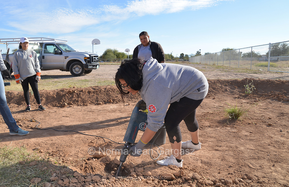 Tucson, Arizona, USA; November 17, 2018; Students, nonprofit and grassroots organizations construct green infrastucture that will capture storm water to water trees they are planting to improve the landscape at STAR Academic High School in the Sunnyside School District on Tucson's south side.  12th-grader, Karla Garcia, 18, digs holes for trees.  PHOTO CREDIT: Norma Jean Gargasz