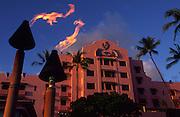 Tiki torches, Royal Hawaiian Hotel, Waikiki, Oahu, Hawaii<br />