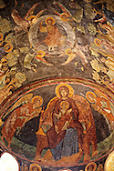 Fresco of the Madonna, Virgin Mary,in the Byzantine Orthodox monastery of Pantanassa , showing Byzantine frescos & Icons,  Mystras ,  Sparta, the Peloponnese, Greece. A UNESCO World Heritage Site .<br /> <br /> Visit our GREEK HISTORIC PLACES PHOTO COLLECTIONS for more photos to download or buy as wall art prints https://funkystock.photoshelter.com/gallery-collection/Pictures-Images-of-Greece-Photos-of-Greek-Historic-Landmark-Sites/C0000w6e8OkknEb8 <br /> .<br /> <br /> Visit our BYZANTINE ART PHOTO COLLECTION for more   photos  to download or buy as prints https://funkystock.photoshelter.com/gallery-collection/Roman-Byzantine-Art-Artefacts-Antiquities-Historic-Sites-Pictures-Images-of/C0000lW_87AclrOk