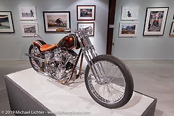 Paul Cox's custom rigid Pan-Shovel in the More Mettle - Motorcycles and Art That Never Quit exhibition in the Buffalo Chip Events Center Gallery during the Sturgis Motorcycle Rally. SD, USA. Wednesday, August 11, 2021. Photography ©2021 Michael Lichter.