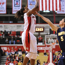 Jan 18, 2009; Piscataway, NJ, USA;  Rutgers guard Epiphanny Prince (10) takes a shot over Marquette guard Erin Monfre (5) during the first half of Rutgers' 76-53 win at the Louis Brown Athletic Center.