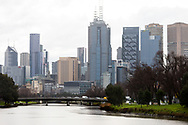 A view of a bleak looking City of Melbourne as seen from the Yarra during COVID-19 in Melbourne, Australia. Victoria has recorded 14 COVID related deaths including a 20 year old, marking the youngest to die from Coronavirus in Australia, and an additional 372 new cases overnight. (Photo by Dave Hewison/Speed Media)