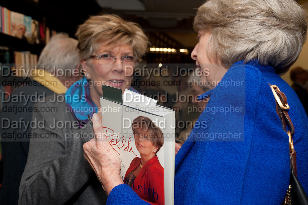 PRUE LEITH; WENDY STEAVENSON, Relish: My Life on a Plate by Prue Leith. Hatchards. Piccadilly, London. 14 March 2012.