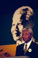 Nelson Mandela giving a speech in Glasgow on the day he received Freedom of the City award,Glasgow, Scotland. 1993.