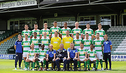 The Yeovil Town 2015/2016 squad pose for their team picture. From left to right: <br /> Back: Matt Dolan, Jakub Sokalik, Ryan Bird, Omar Sowumni, Stephen Arturworrey, Mark Beck, Ben Tozer, Shaun Jeffers, Alex Lacey.<br /> Middle:  Dan Powell, Wes Fogden, Mark Laird, Chris Weale, Artur Krysiak, Jamie Burrows, Kevin Dawson, Jack Compton, Mike Micciche.<br /> Front: Simon Gillet, Nathan Smith, Darren Way, Paul Sturrock, Terry SKiverton, Ryan Dickson, Iffy Allen. <br /> - Photo mandatory by-line: Harry Trump/JMP - Mobile: 07966 386802 - 06/08/15 - SPORT - FOOTBALL - Yeovil Town Press Day - Huish Park, Yeovil, England.
