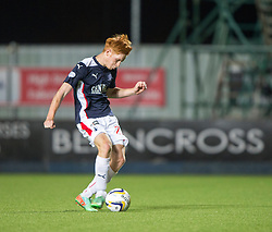 Falkirk's Scott Shepherd scoring his penalty.<br /> Falkirk beat Cowdenbeath in a penalty shoot-out, second round League Cup tie played at The Falkirk Stadium.