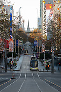 The view down a empty Bourke Street Mall as the state waits to see if the lockdown will be extended as it enters 6th day of the state wide COVID-19 snap lockdown that has been placed on the State of Victoria.  (Photo by Michael Currie/Speed Media)