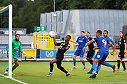AFC Wimbledon striker Kweshi Appiah (9) watching the ball go into the box for a chance during the Pre-Season Friendly match between AFC Wimbledon and Crystal Palace at the Cherry Red Records Stadium, Kingston, England on 30 July 2019.