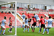 Manchester City clear the danger from the corner during the FA Women's Super League match between Manchester United Women and Manchester City Women at Leigh Sports Village, Leigh, United Kingdom on 14 November 2020.
