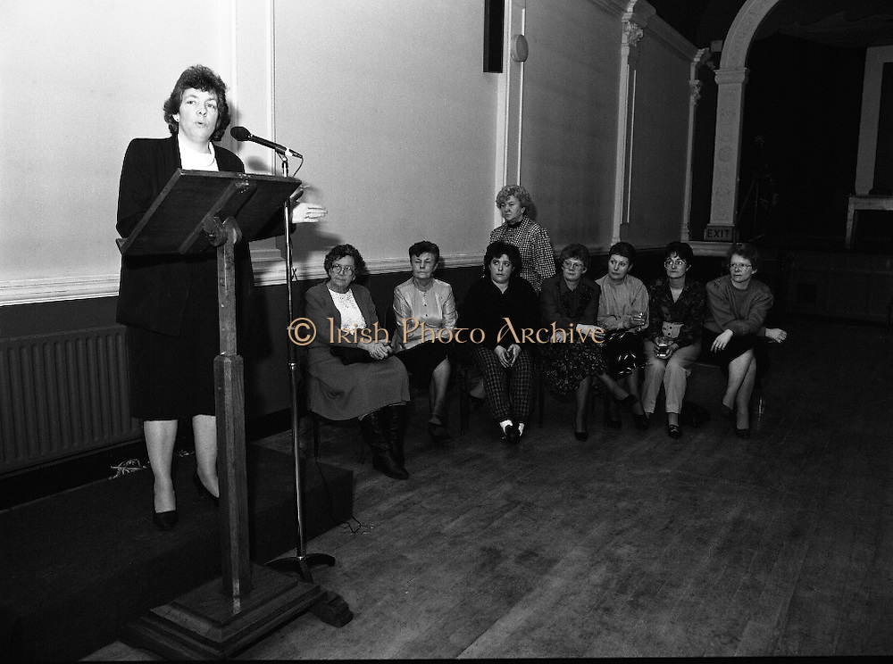 """""""These Obstreperous Lassies"""" Book Launch.  (R93)..1988..15.12.1988..12.15.1988..15th December 1988..A book which chronicles an important aspect of Irish social history was launched in Larkin Hall. """"These Obstreperous Lassies"""" written and researched by Mary Jones, details the seventy three years of the Irish Women Workers Union and of the women who were involved in the union..With Countess Markievicz as its first president, The Union began the fight for equal pay and fair treatment under the leadership of women like helen Chenevix, Louise Bennett and Helena Molloy. They fought for the rights of vulnerable workers such as Laundresses,print workers,box makers,nurses and dressmakers..The Author, Mary Jones, is a full time researcher specialising in Women and Work...Padraigin Ni Murchú,Past Gen Secretary, Women's Workers Union,is pictured speaking at the launch of the book """"These Obstreperous Lassies"""""""