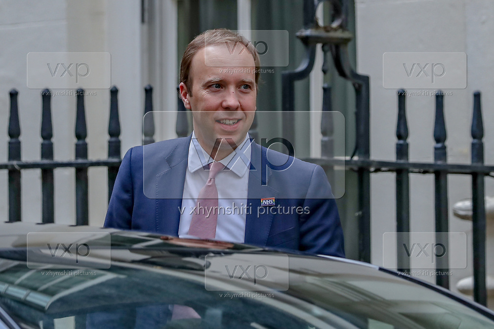 Health Secretary Matt Hancock leaves Downing Street, after this evening's press conference, in London, as the row over Prime Minister Boris Johnson's top aide Dominic Cummings' Durham trip, continues on Wednesday, May 27, 2020. The prime minister's populist appeal has been hammered by the news that, as the coronavirus outbreak raged, chief adviser Cummings drove 250 miles (400 kilometres) to his parents' house while he was falling ill with suspected COVID-19 allegedly flouting lockdown rules that the government had imposed on the rest of the country. (Photo/ Vudi Xhymshiti)