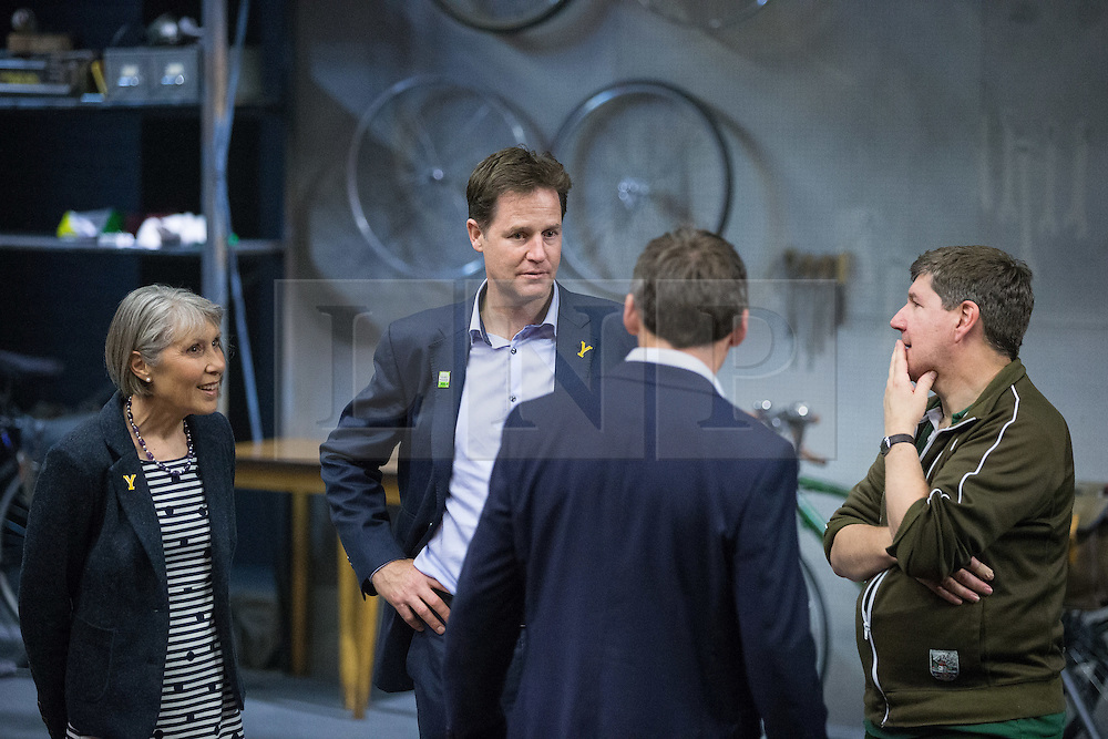 """© Licensed to London News Pictures . 03/07/2014 . Leeds , UK . The Deputy Prime Minister , NICK CLEGG MP , on the stage during a tour of the West Yorkshire Playhouse in Leeds today (Thursday 3rd July 2014) meeting the cast of """" Beryl """" . The Liberal Democrat leader and MP for Sheffield Hallam meets cast and crew of production of Maxine Peake's """" Beryl """" based on the life of Beryl Burton , pioneering woman cyclist . Photo credit : Joel Goodman/LNP"""