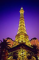 The Eiffel Tower at Paris Las Vegas hotel and casino, Las Vegas Boulevard (the Strip), Las Vegas, Nevada USA