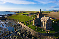 Aerial view from drone of church in St Monans fishing village in the East Neuk of Fife, Scotland, UK