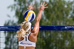 Erika Fabjan with unsuccessful block on Beachmaster 2010 tournament for Slovenian BeachTour on July 15, 2010, in Ptuj, Slovenia. (Photo by Matic Klansek Velej / Sportida)