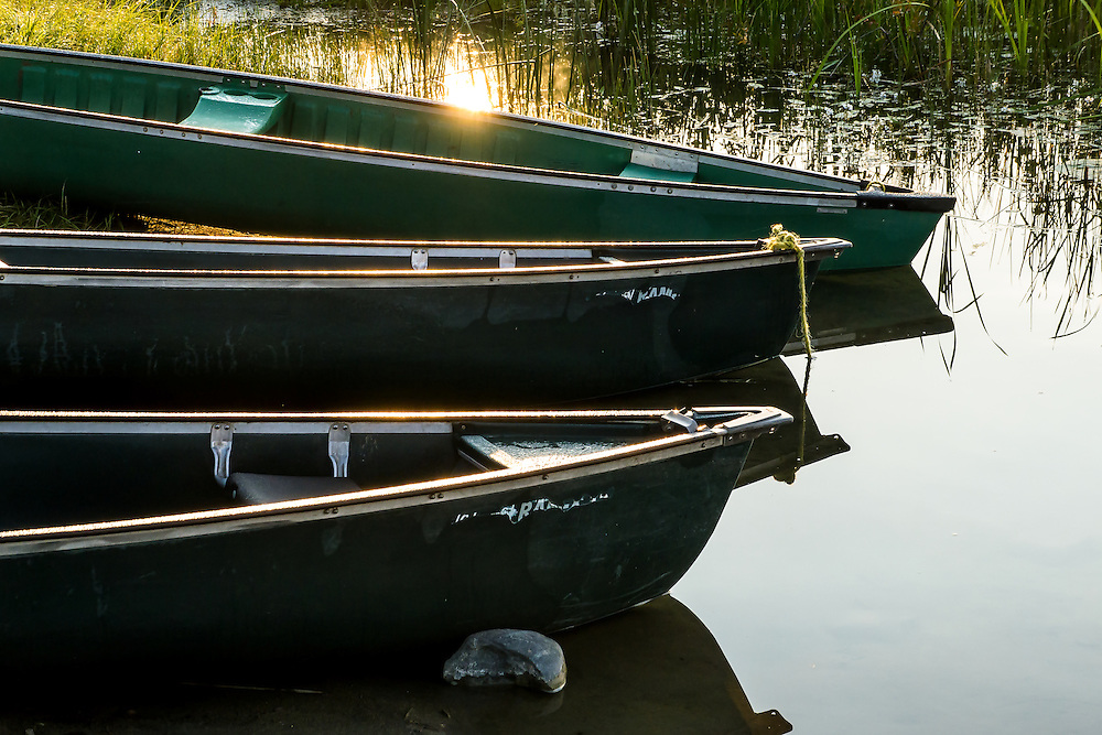 Three canoe bows rest on the shore of Spring Lake, Spring Lake Ranch, BC, Canada. Early morning sun is reflected off the lake.