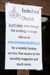 Signs of Covid-19 Saint Marys Church Ecclesfield Sheffield South Yorkshire advises its parishioners that while the church building is closed the church is open for worship via the internet. <br /> 24 April 2020<br /> <br /> www.pauldaviddrabble.co.uk<br /> All Images Copyright Paul David Drabble - <br /> All rights Reserved - <br /> Moral Rights Asserted -