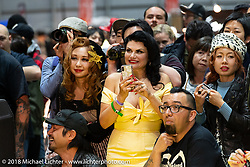 Fans at the Pin-up model competition at the 27th Annual Mooneyes Yokohama Hot Rod Custom Show 2018. Yokohama, Japan. Sunday, December 2, 2018. Photography ©2018 Michael Lichter.