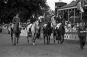"07/08/1987<br /> 08/07/1987<br /> 07 August 1987<br /> Bank of Irelands Nations Cup for the Aga Khan ropey competition. The Irish team. (l-r):  Captain John Ledingham on ""Gabhran""; Jack Doyle on ""Hardly""; Captain Gerry Mullins, on ""Rockbarton""and Eddie Macken on ""Carroll's Flight""."