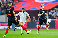 Raheem Sterling (England) in pursuit of Tin Jedvaj (Croatia) during the UEFA Nations League match between England and Croatia at Wembley Stadium, London, England on 18 November 2018.