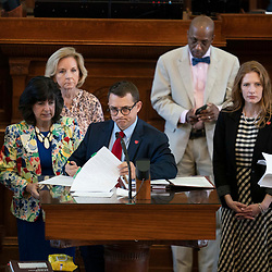The Texas House debating SB 7 late into the night  a controversial omnibus elections bill that would make changes to the way Texas elections are held. State Rep. Briscoe Cain, chair of House Elections committee, debates the bill from the front microphone.