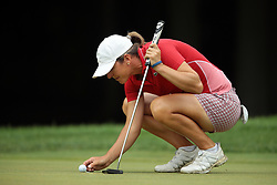 May 26, 2018 - Ann Arbor, Michigan, United States - Celine Herbin of France lines up her putt on the 6th green during the third round of the LPGA Volvik Championship at Travis Pointe Country Club, Ann Arbor, MI, USA Saturday, May 26, 2018. (Credit Image: © Jorge Lemus/NurPhoto via ZUMA Press)